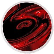 Red Swirl  Round Beach Towel