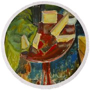 Red Table Top Still Life Round Beach Towel