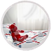 Red Teddy Bear Round Beach Towel