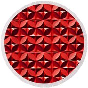Red Textured Wall Round Beach Towel