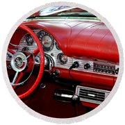 Red Thunderbird Dash Round Beach Towel