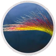 Red Tipped Grass Round Beach Towel by Robert Bales