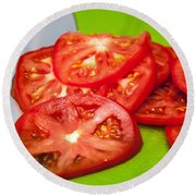 Red Tomato Slices And Knife On Green Chopping Board Round Beach Towel
