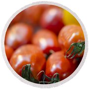 Red Tomatoes At The Market Round Beach Towel by Heather Applegate