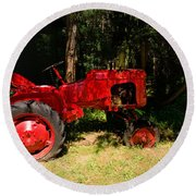 Red Tractor Round Beach Towel