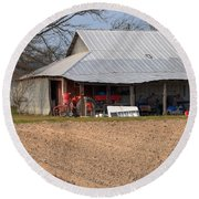 Red Tractor In A Tin Roofed Shed Round Beach Towel