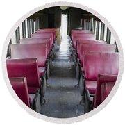 Red Train Seats Round Beach Towel