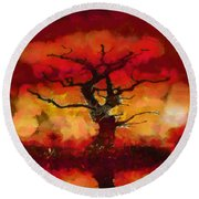 Red Tree Of Life Round Beach Towel by Pixel Chimp