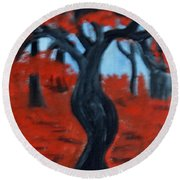 Red Trees Round Beach Towel