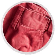 Red Trousers Round Beach Towel