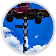 Red Truck With Cross Round Beach Towel