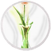 Red Tulip In A Green Vase Round Beach Towel