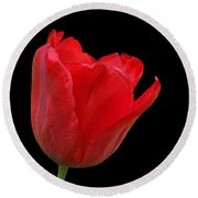 Red Tulip Open Round Beach Towel