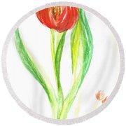 Red Tulip -of Amsterdam   Round Beach Towel