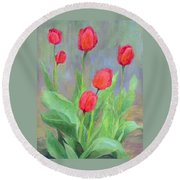 Red Tulips Colorful Painting Of Flowers By K. Joann Russell Round Beach Towel