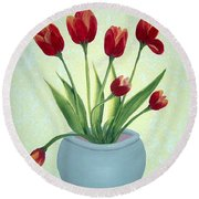 Red Tulips In A Pot Round Beach Towel