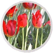 Red Tulips Round Beach Towel