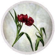 Red Tulips On A Letter Round Beach Towel