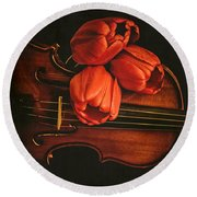 Red Tulips On A Violin Round Beach Towel