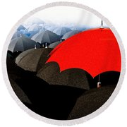 Red Umbrella In The City Round Beach Towel