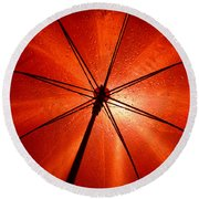 Red Umbrella Round Beach Towel
