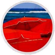 Red Umbrellas  Round Beach Towel