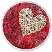 Red Valentine Round Beach Towel