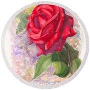 Red Valentine Rose Round Beach Towel