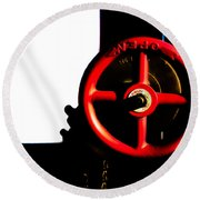 Red Valve  Round Beach Towel by Bob Orsillo