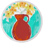 Red Vase Of Flowers Round Beach Towel