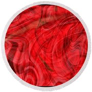 Red Veil Abstract Art Round Beach Towel