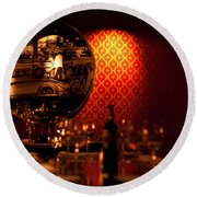 Red Wall And Dinner Table Round Beach Towel