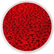 Red Water Drops On Water-repellent Surface Round Beach Towel