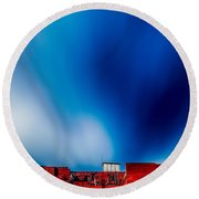 Red White And Blue Round Beach Towel