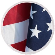 Red White And Blue Round Beach Towel by Laurel Powell