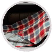 Red White And Blue Quilt  Round Beach Towel