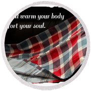 Red White And Blue Quilt With Quote Round Beach Towel