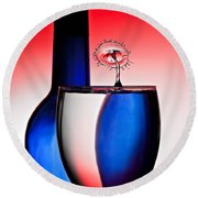 Red White And Blue Reflections And Refractions Round Beach Towel