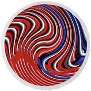 Red White And Blue Round Beach Towel by Sarah Loft