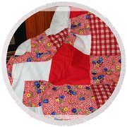Red White And Gingham With Flowery Blocks Patchwork Quilt Round Beach Towel