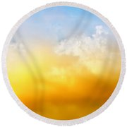 Red White Clouds Round Beach Towel