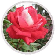Red-white Rose Round Beach Towel