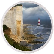 White Cliffs And Red-white Striped Lightouse In The Sea Round Beach Towel