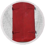 Red Window Round Beach Towel