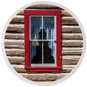 Red Window Log Cabin - Idaho Round Beach Towel