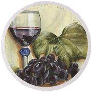 Red Wine And Grape Leaf Round Beach Towel
