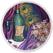 Red Wine And Peacock Feathers Round Beach Towel