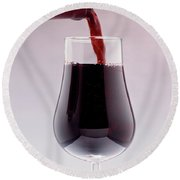 Red Wine Bottle Pouring Into A Glass Round Beach Towel