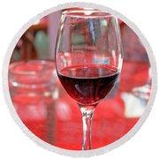 Red Wine Round Beach Towel