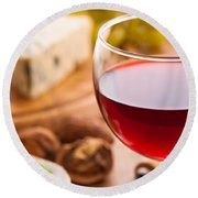 Red Wine With Cheese Round Beach Towel by Amanda Elwell